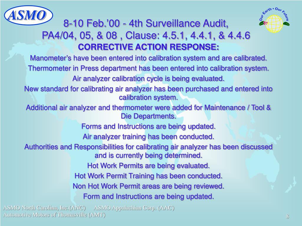 8-10 Feb.'00 - 4th Surveillance Audit,