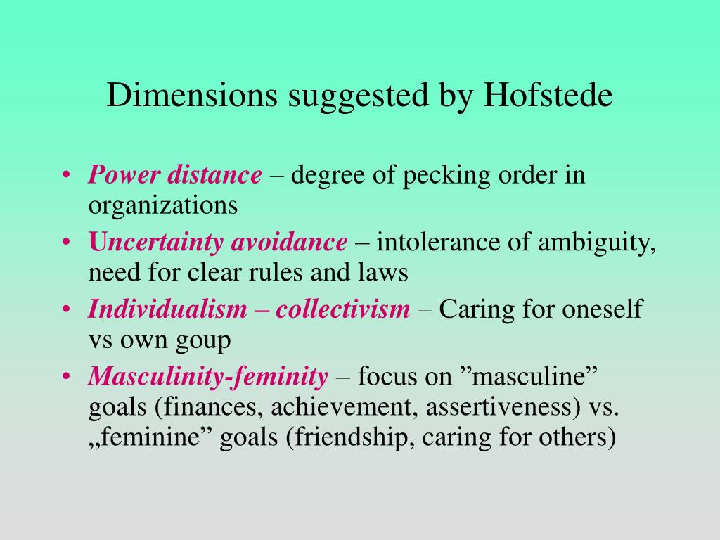 Dimensions suggested by