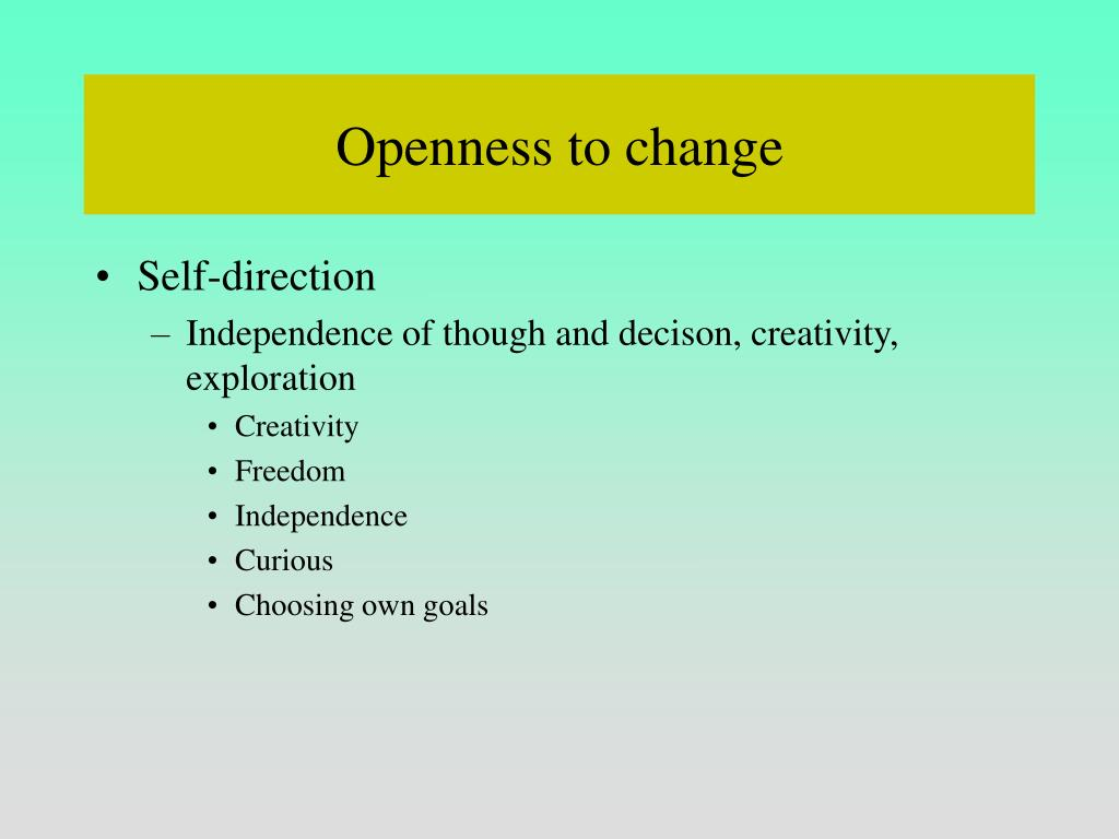 Openness to change