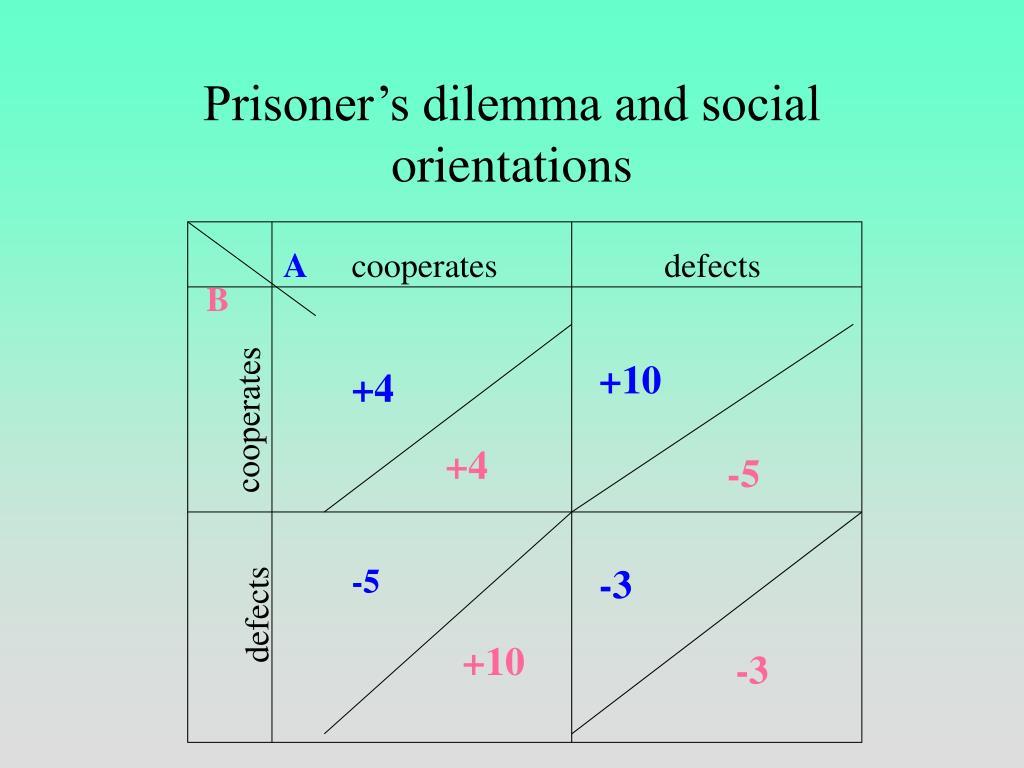Prisoner's dilemma and social orientations