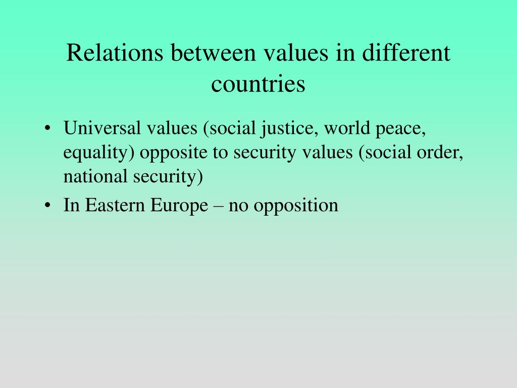 Relations between values in different countries