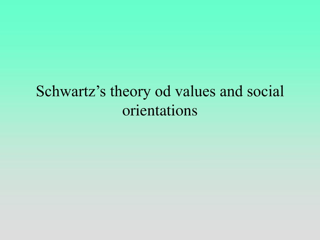 Schwartz's theory od values and social orientations