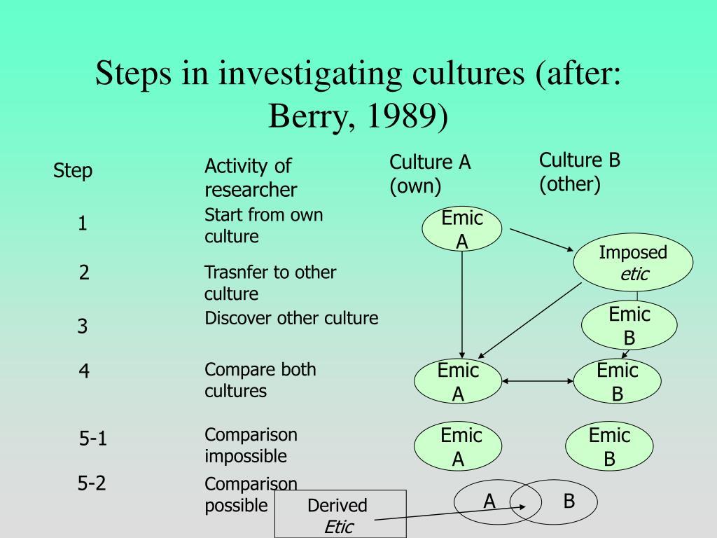 Steps in investigating cultures