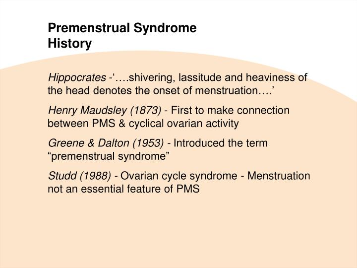an introduction to the issue of premenstrual syndrome or pms