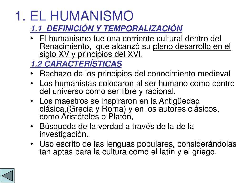 1. EL HUMANISMO