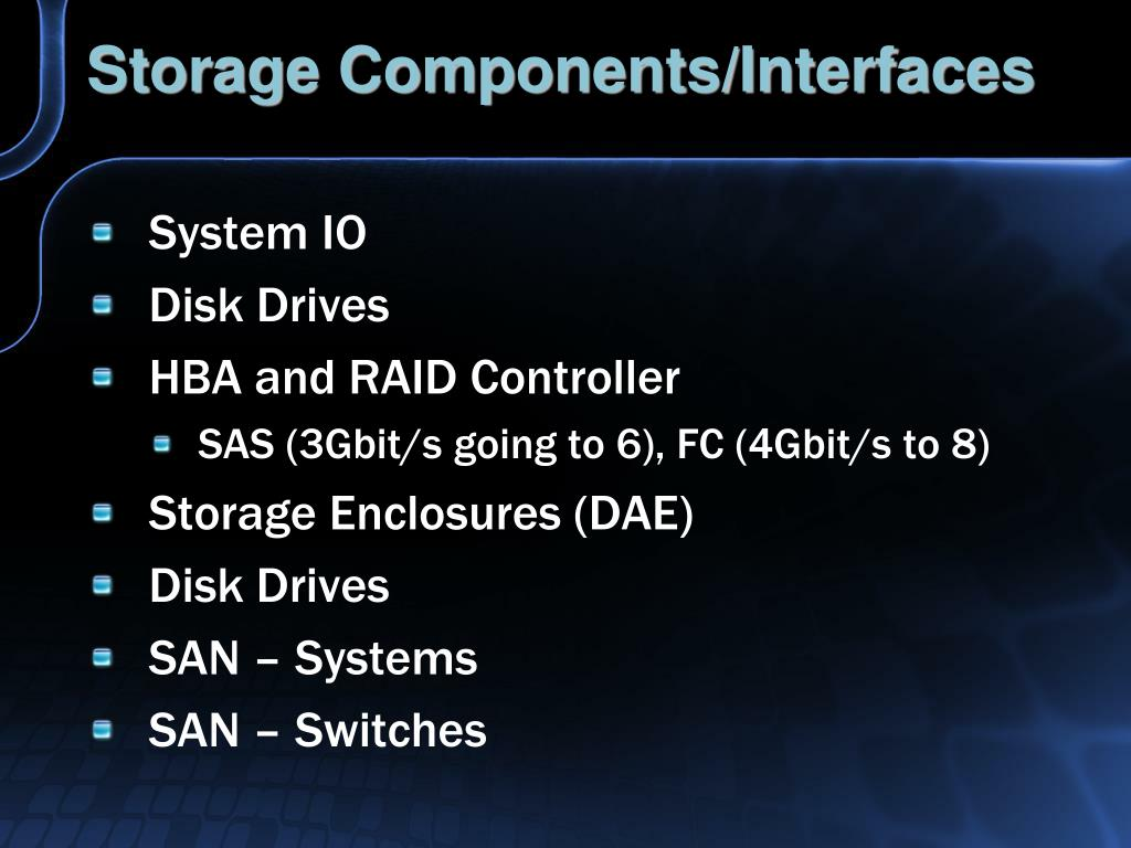 Storage Components/Interfaces