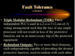 fault tolerance continued