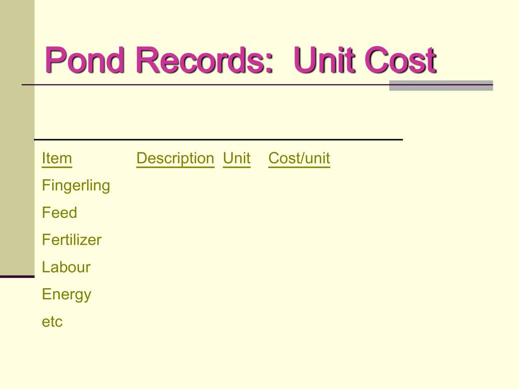 Pond Records:  Unit Cost