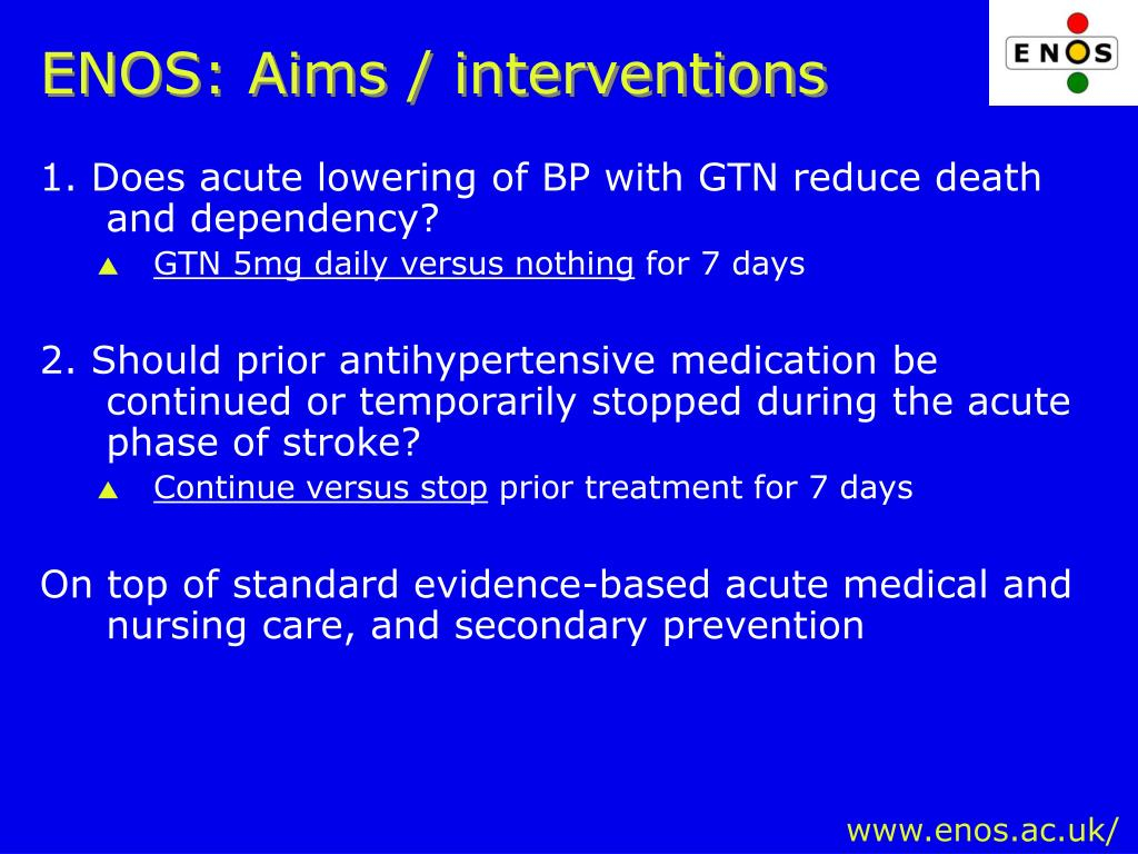 ENOS: Aims / interventions
