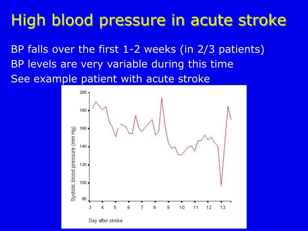 High blood pressure in acute stroke