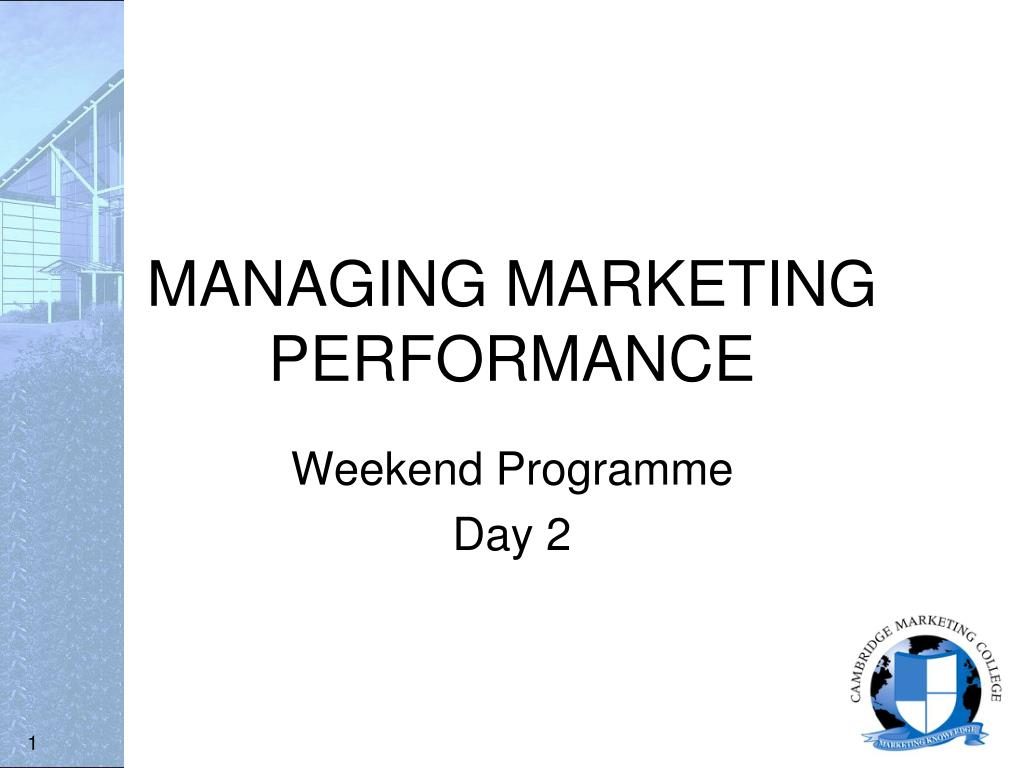 managing marketing performance l.