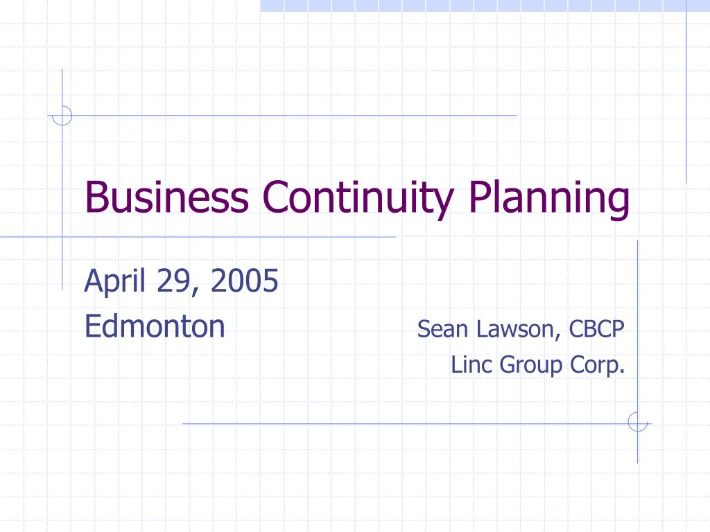 business continuity planning l.