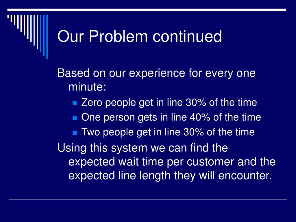 Our Problem continued