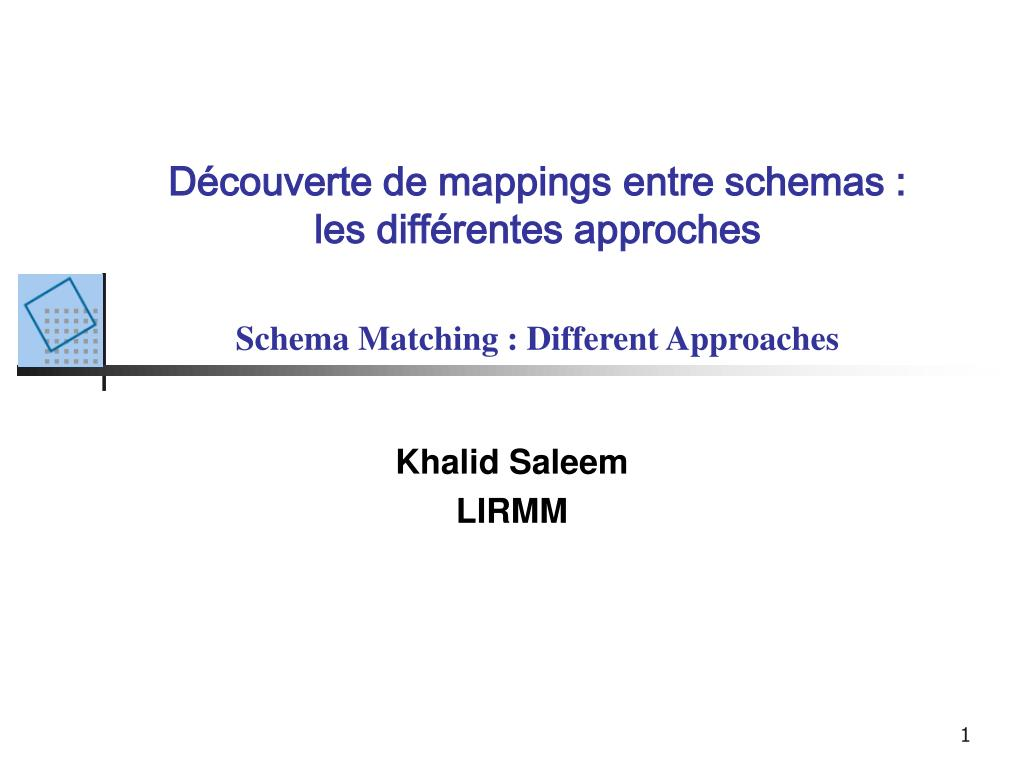 d couverte de mappings entre schemas les diff rentes approches schema matching different approaches l.