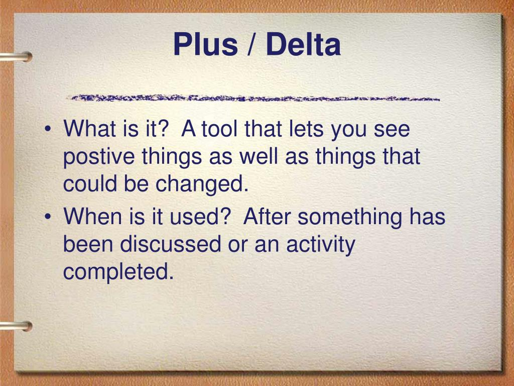 Plus / Delta