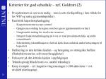 kriterier for god schedule ref goldratt 2