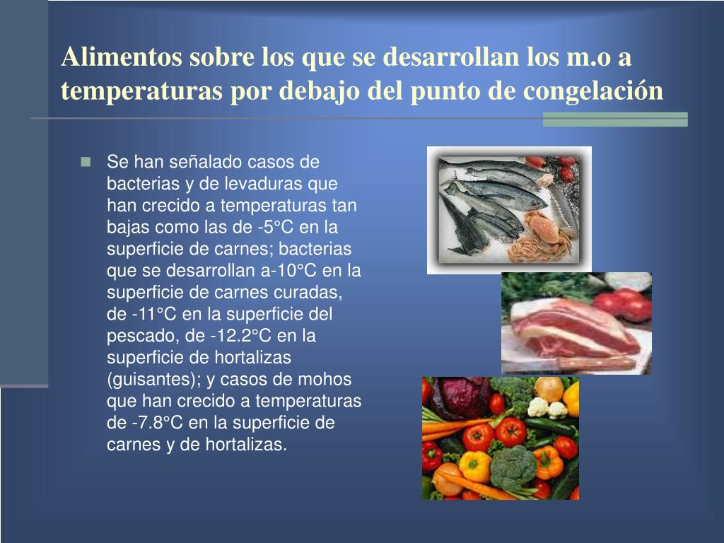Alimentos sobre los que se desarrollan los m.o a  temperaturas por debajo del punto de congelación