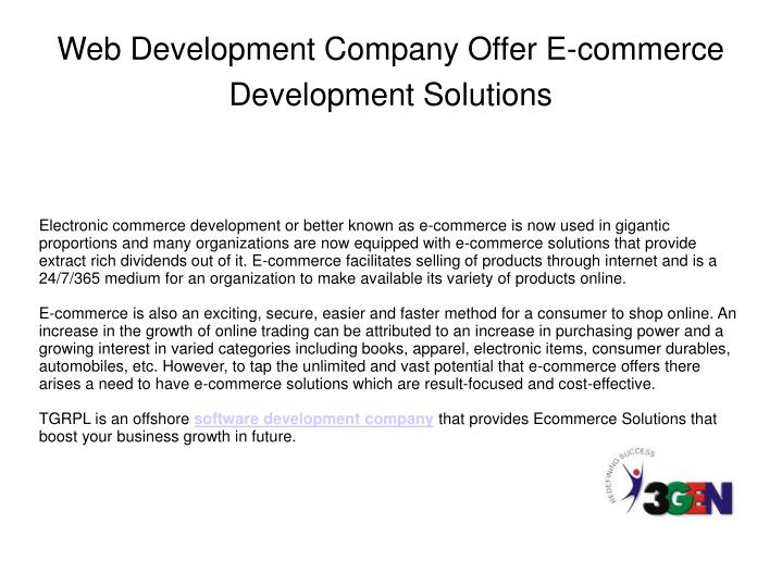 Web development company offer e commerce development solutions