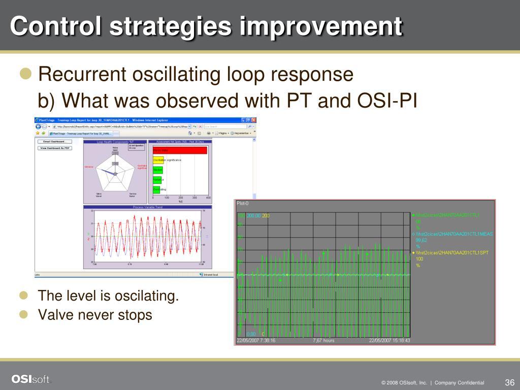 Control strategies improvement