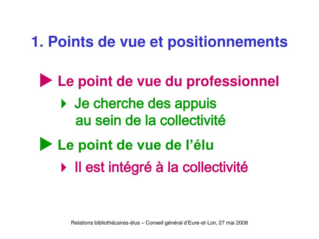 1. Points de vue et positionnements