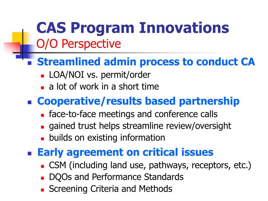 CAS Program Innovations