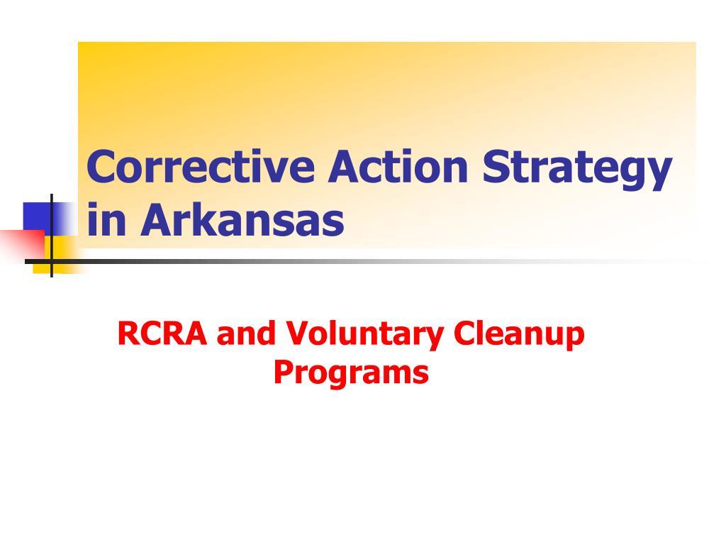 Corrective Action Strategy in Arkansas