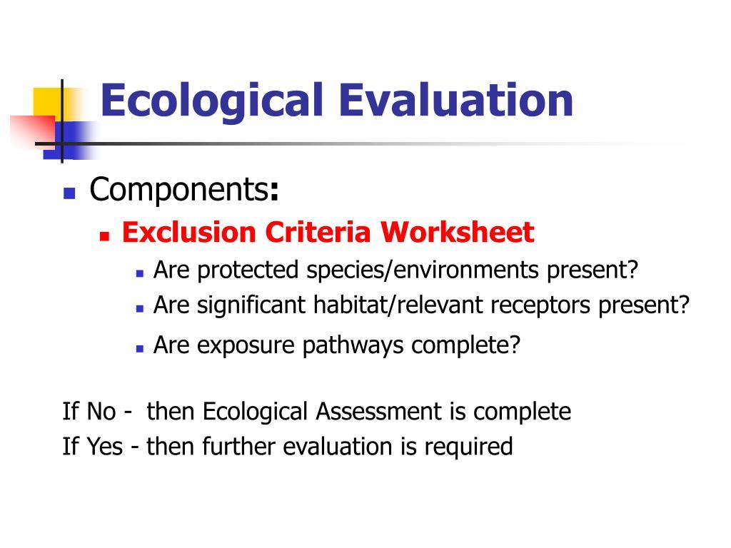 Ecological Evaluation