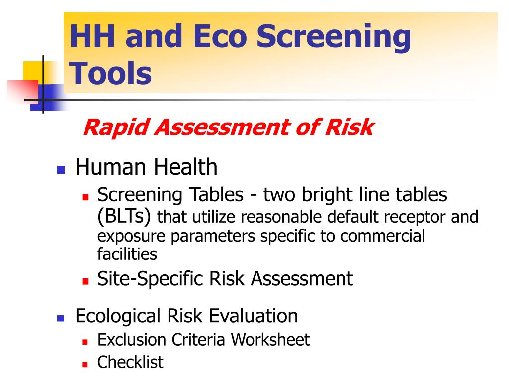 HH and Eco Screening Tools