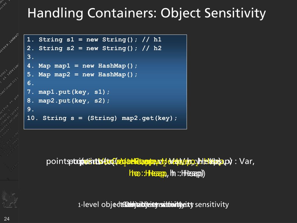 Handling Containers: Object Sensitivity