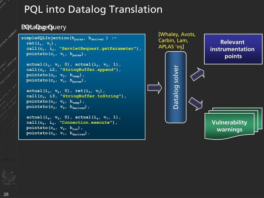PQL into Datalog Translation