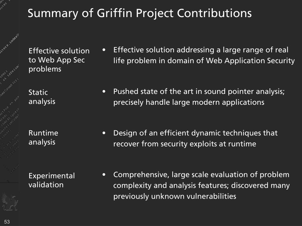 Summary of Griffin Project Contributions