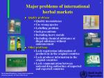 major problems of international herbal markets