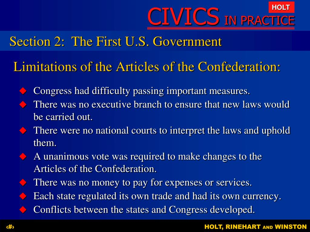 Section 2:	The First U.S. Government