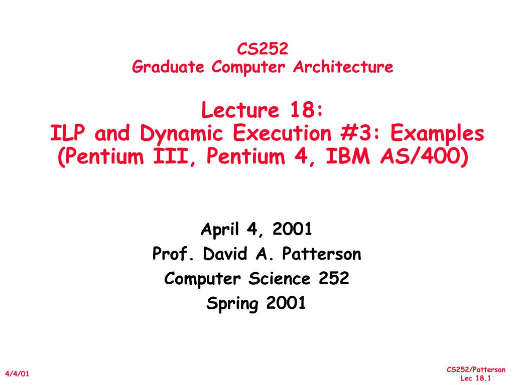 Ppt Cs252 Graduate Computer Architecture Lecture 18 Ilp And Pentium 1 Block Diagram Slide1 L
