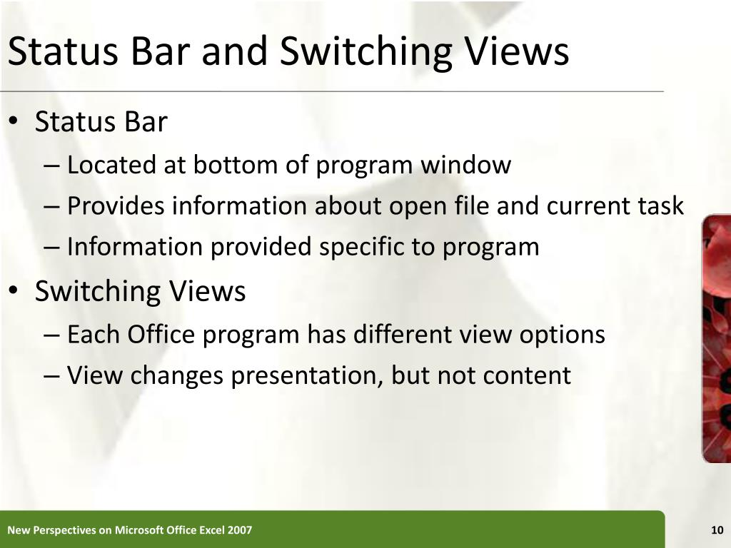 Status Bar and Switching Views
