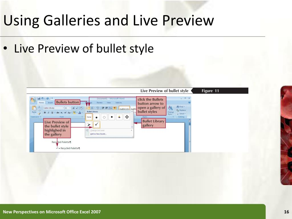 Using Galleries and Live Preview