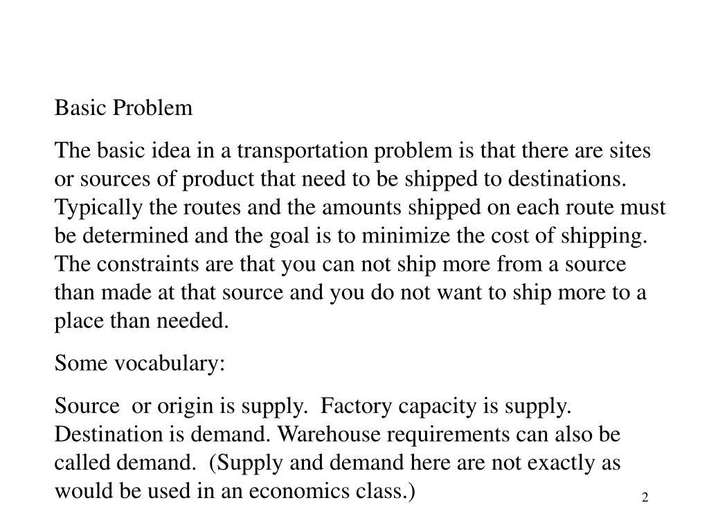 Basic Problem
