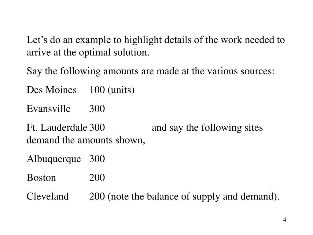 Let's do an example to highlight details of the work needed to arrive at the optimal solution.