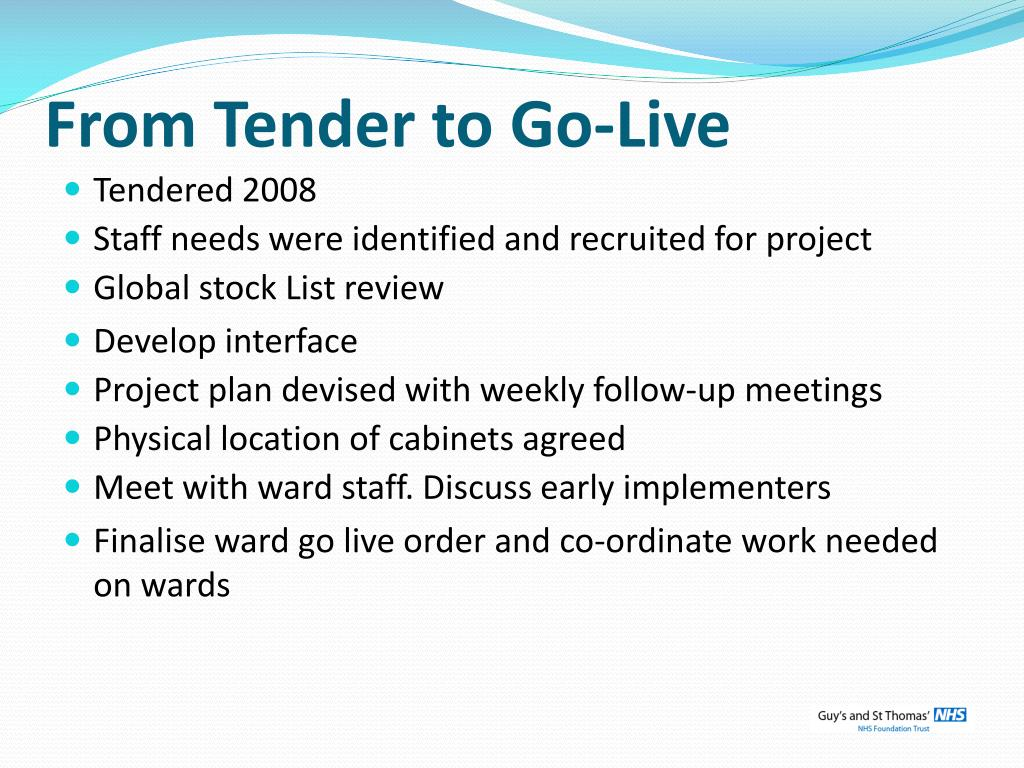 From Tender to Go-Live