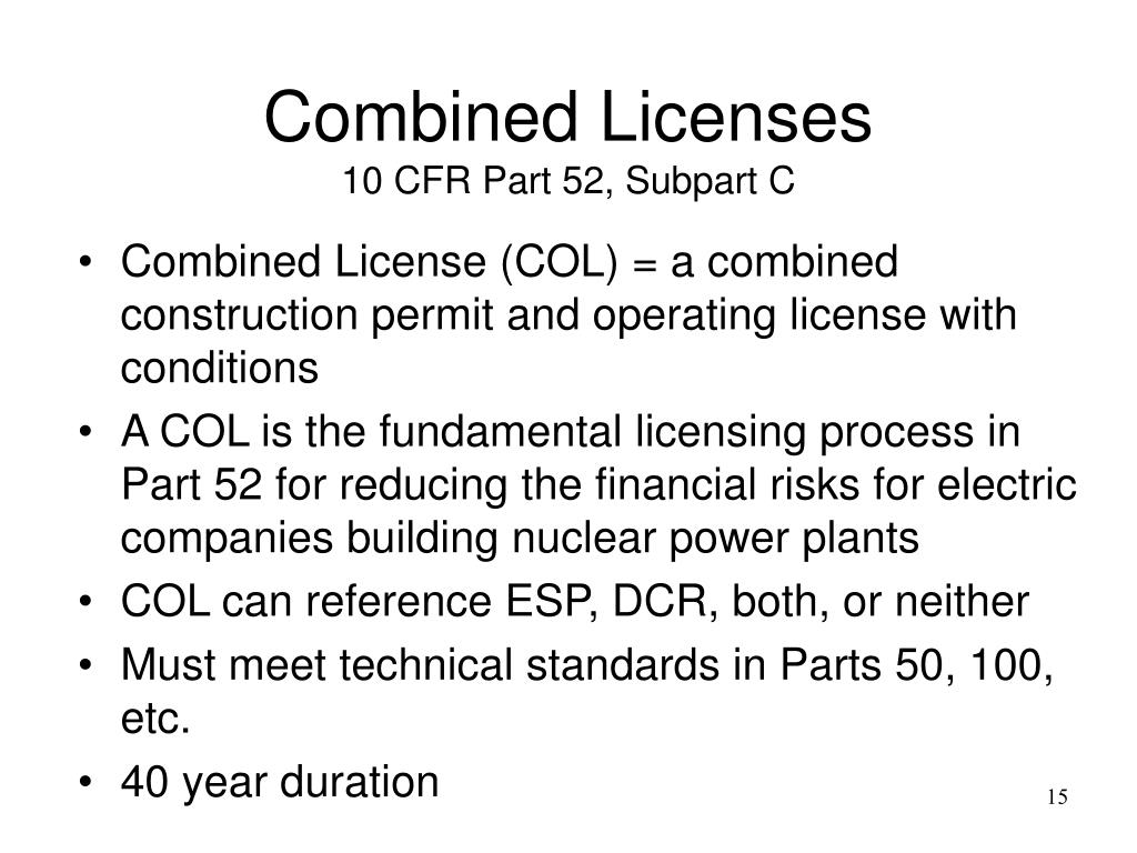 Combined Licenses