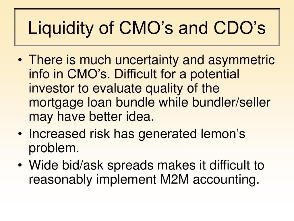 Liquidity of CMO's and CDO's