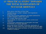 13 practical steps towards the total elimination of nuclear arsenals