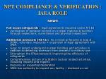 npt compliance verification iaea role