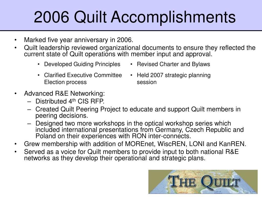 2006 Quilt Accomplishments
