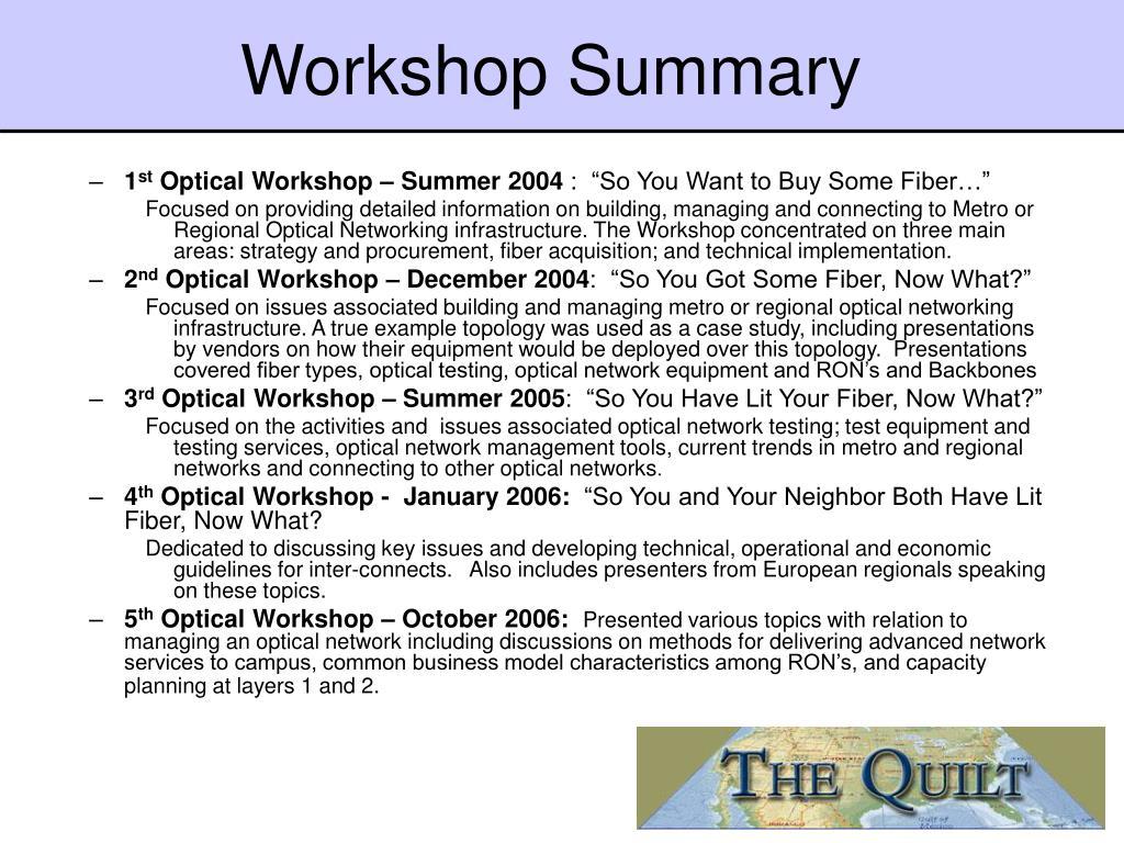 Workshop Summary