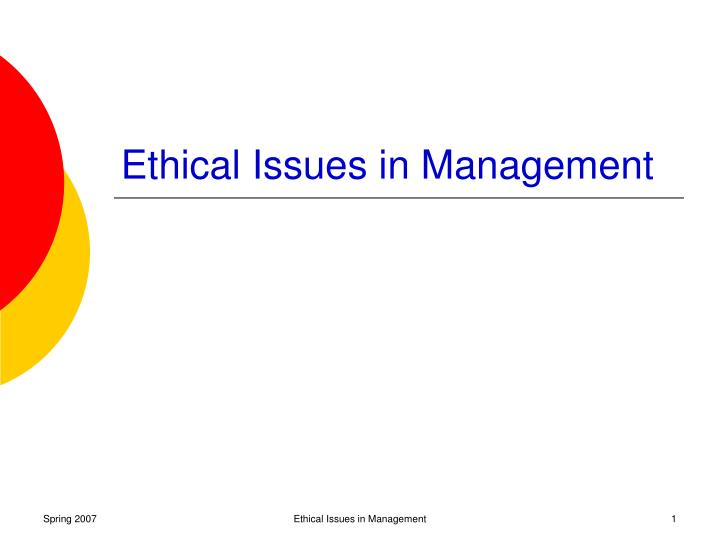ethical issues in management n.