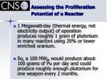 assessing the proliferation potential of a reactor