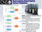 reprocessing spent fuel to extract plutonium