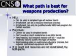 what path is best for weapons production