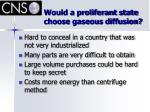 would a proliferant state choose gaseous diffusion